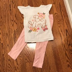 Carter's Be Kind Floral shirt and leggings set